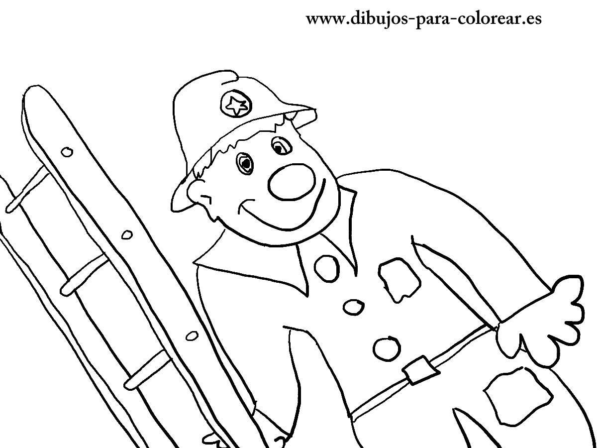 Dibujos para colorear - Florin el bombero payaso