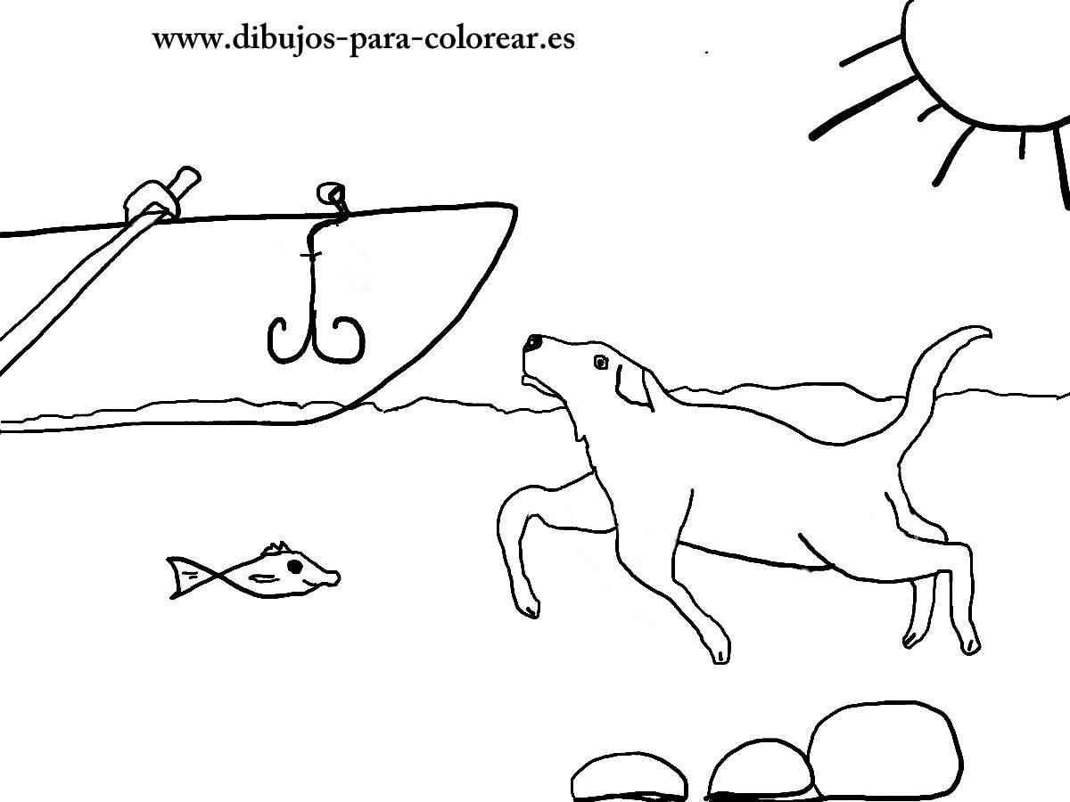 Dibujos para colorear - Pluto el perro nadador