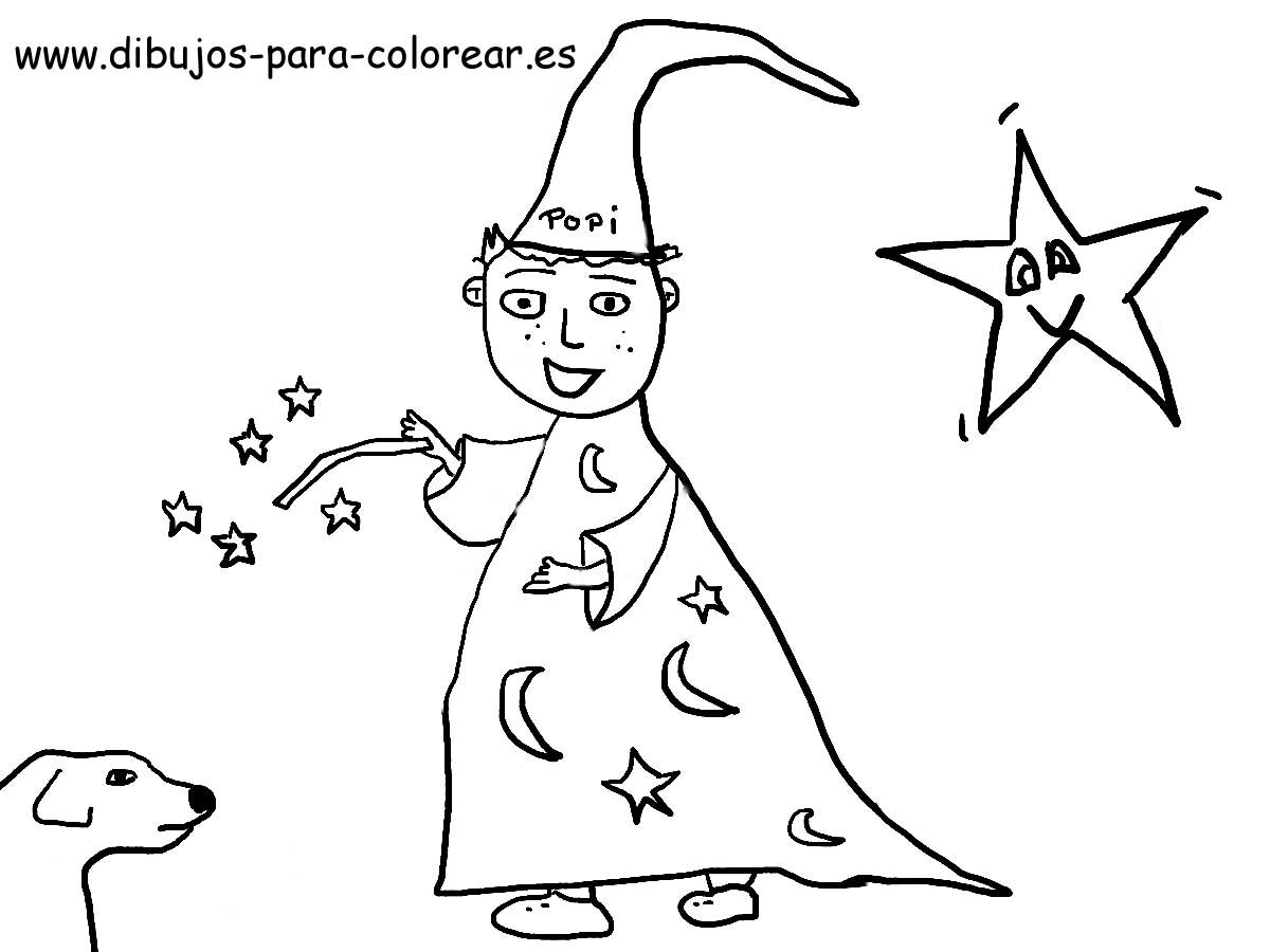 El Niño Mago Y El Perro Dibujos Para Colorear