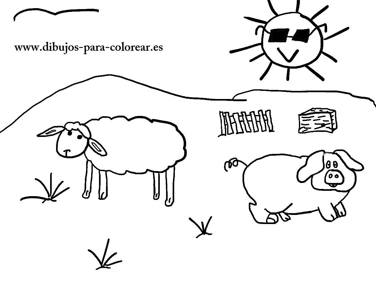 Dibujos para colorear - El cerdito valiente de la granja