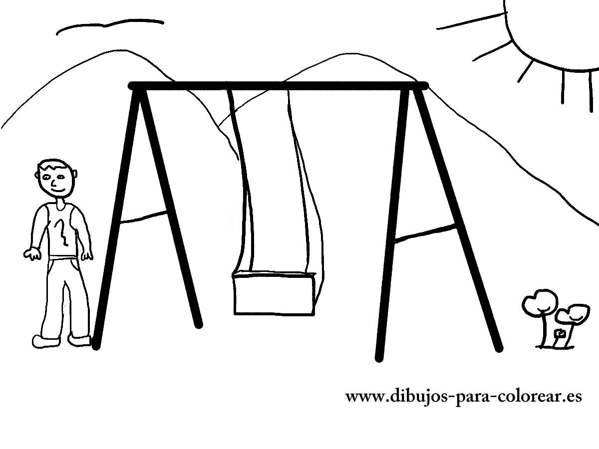 Dibujos para colorear - El columpio de los niños
