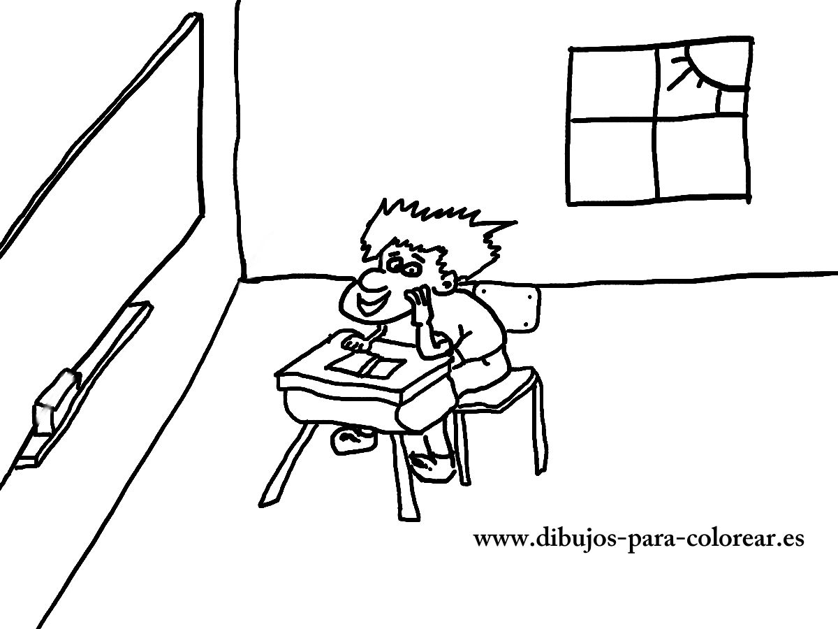 Dibujos para colorear - El niño en el colegio