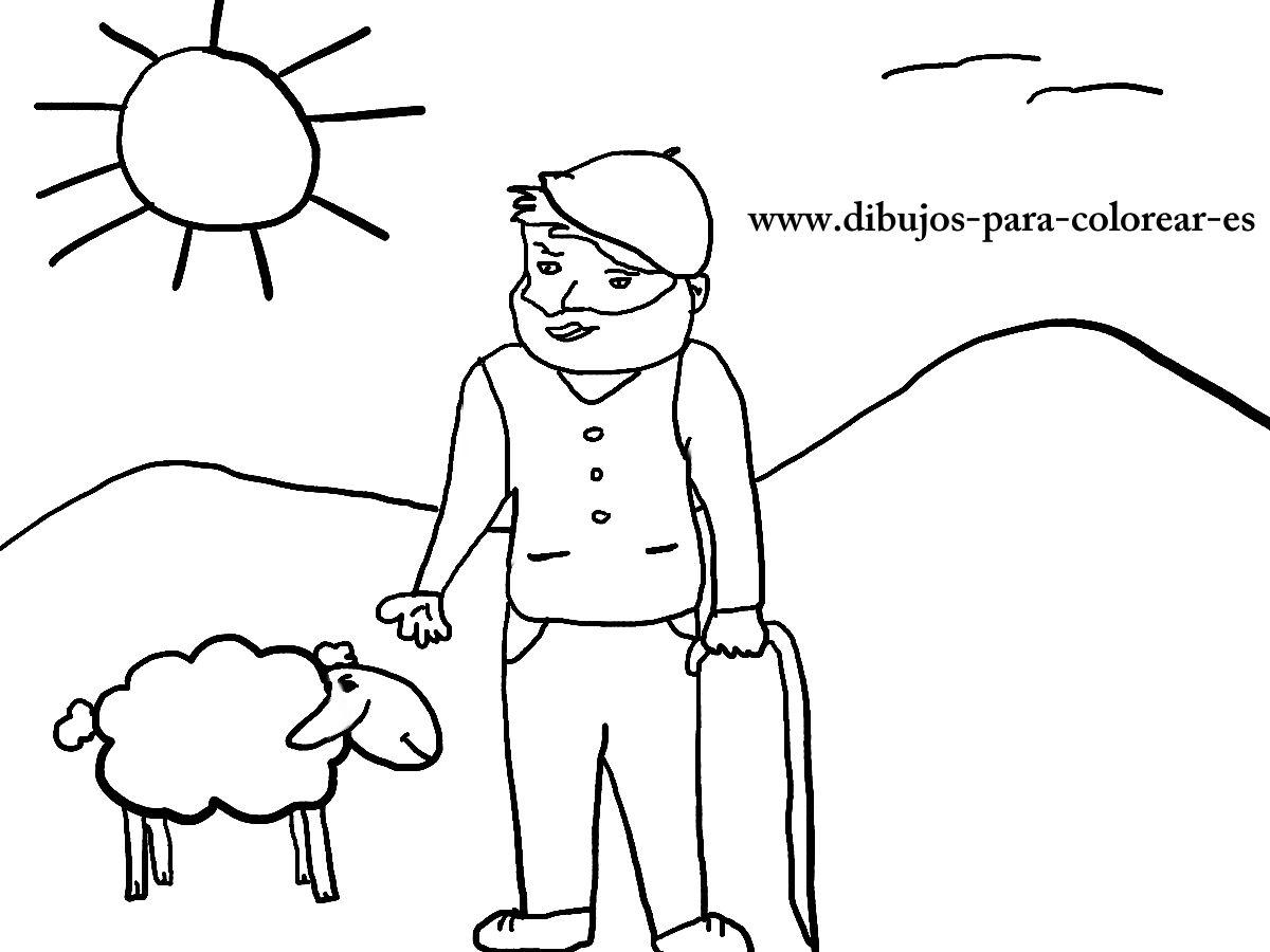 Dibujos para colorear - El pastorcillo y las ovejas