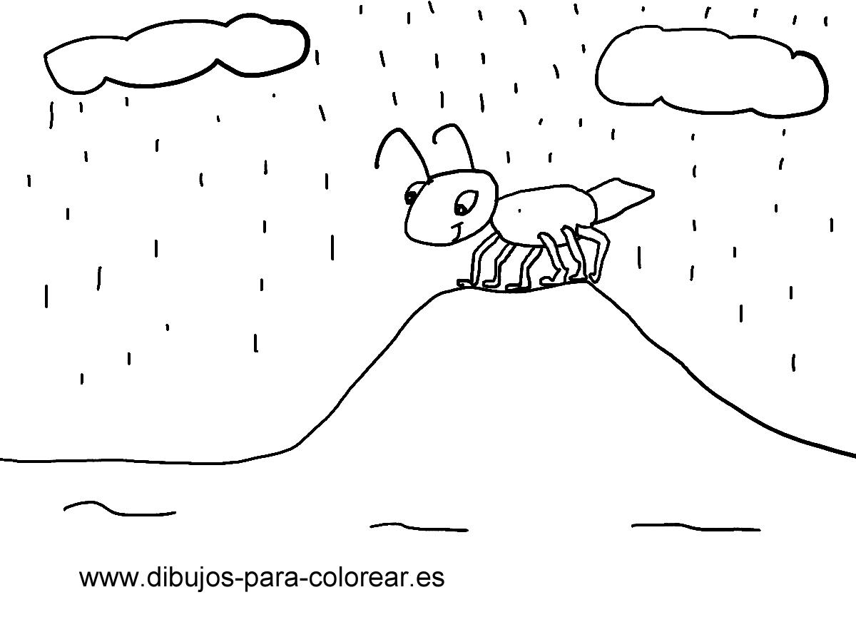 Dibujos para colorear - Hormiga y hormiguero