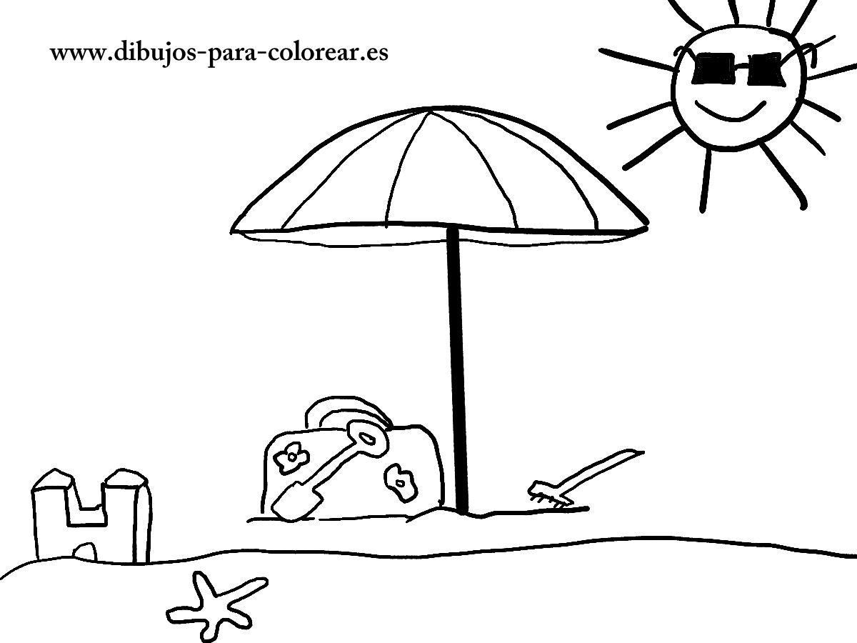 Dibujos para colorear - La sombrilla de la playa