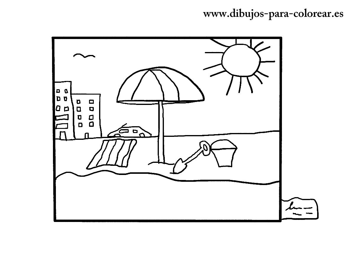 Dibujos para colorear - el cuadro de la playa