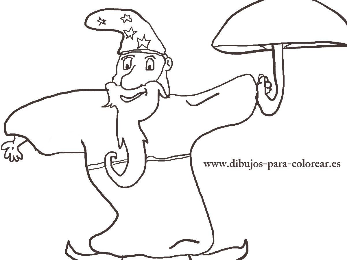 Dibujos para colorear - el mago del paraguas magico