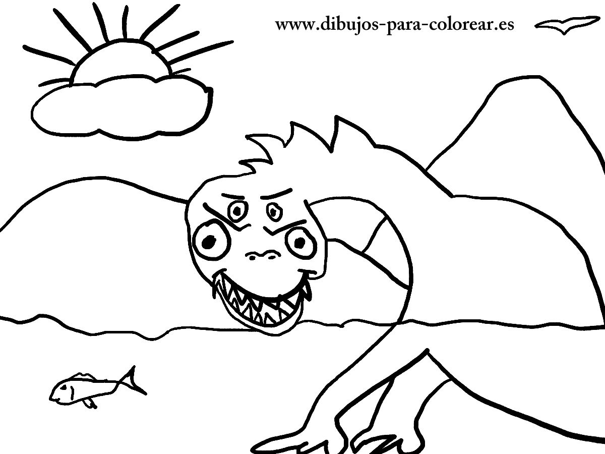 Dibujos para colorear  -  el monstruo del lago Ness
