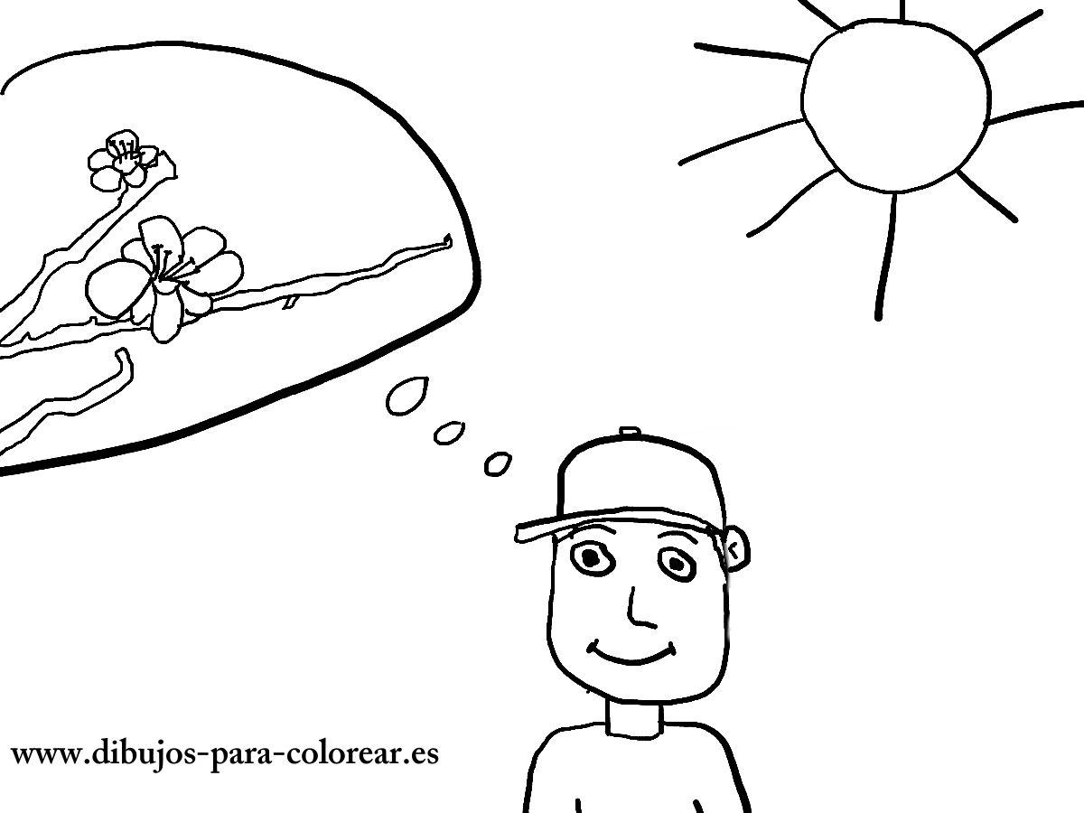 Dibujos para colorear - el niño y los almendros