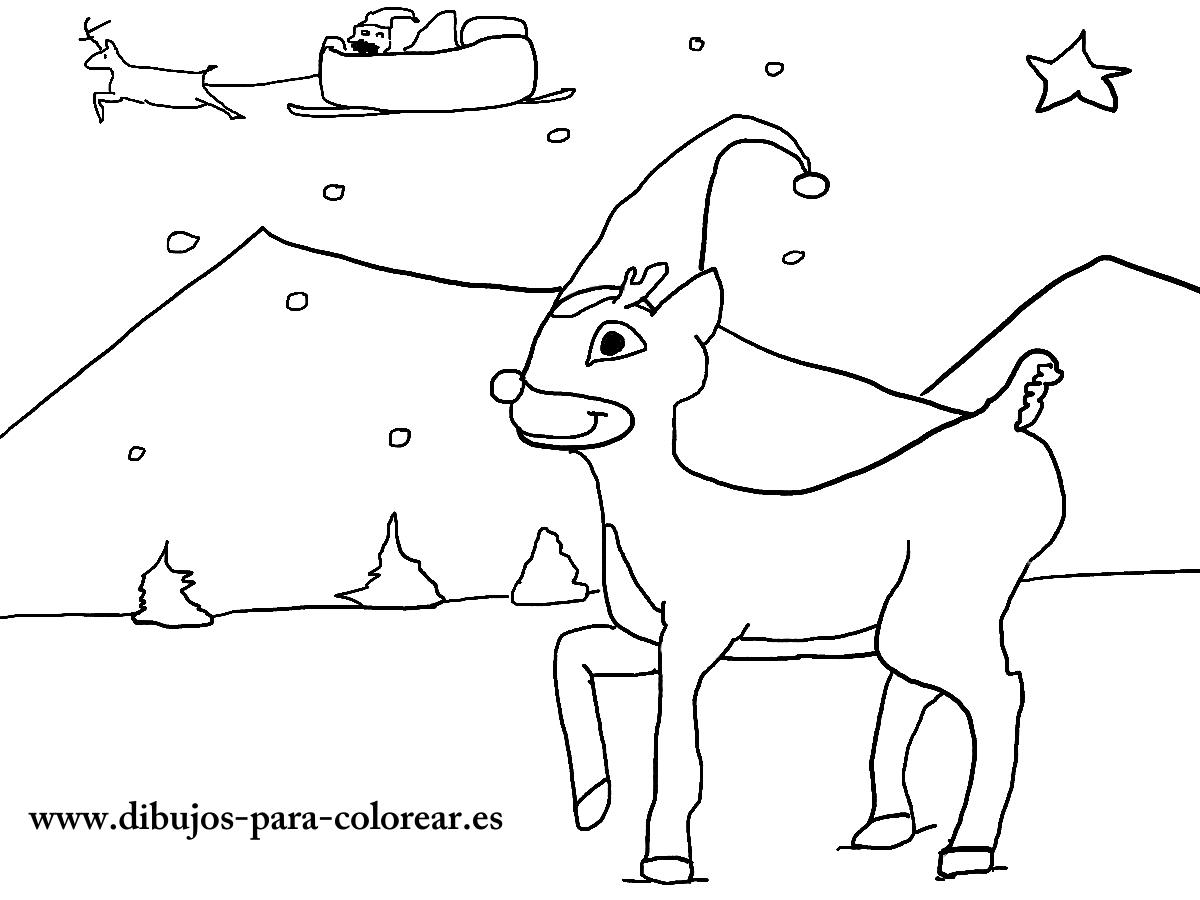 Dibujos para colorear - renos de papa noel en navidad