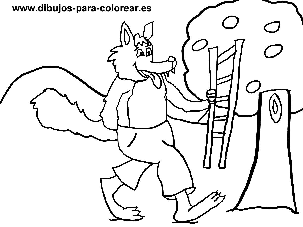 EL LOBO CON LA ESCALERA Y EL ARBOL | Dibujos para colorear