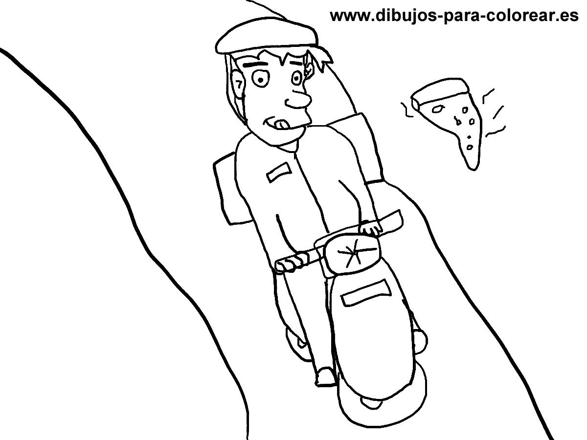 Dibujos para colorear - Hombre moto pizza