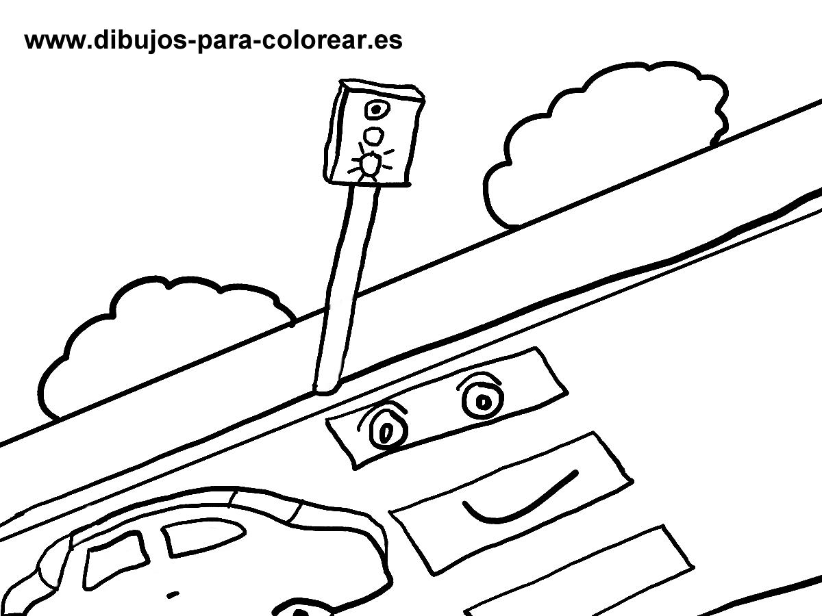 Dibujos para colorear - Semaforo y paso de peatones