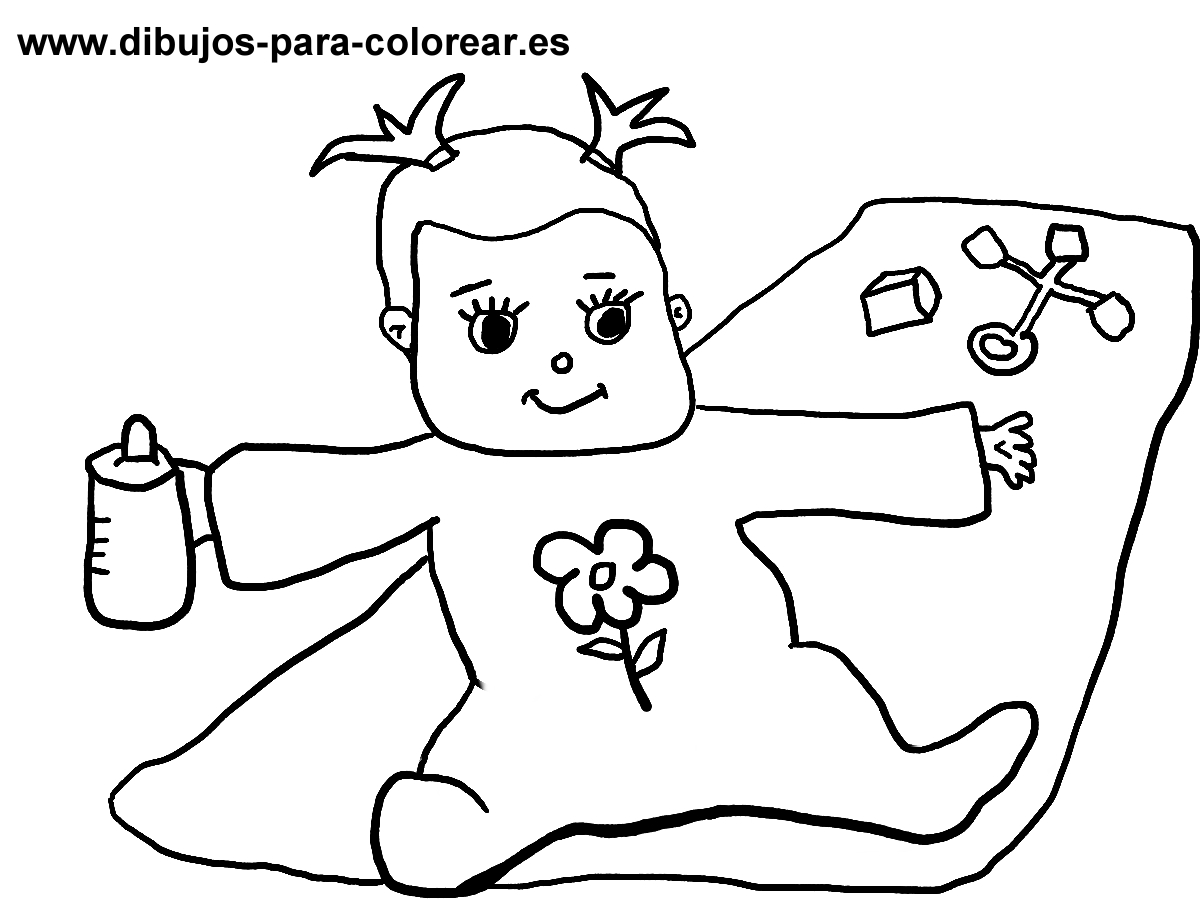 BEBE JUGANDO Y TOMANDO BIBERON | Dibujos para colorear