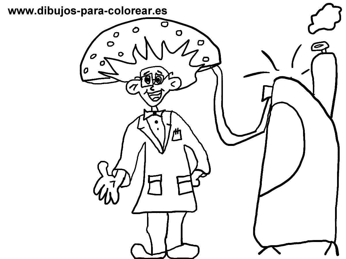 Dibujos para colorear - cientifico con maquina del tiempo