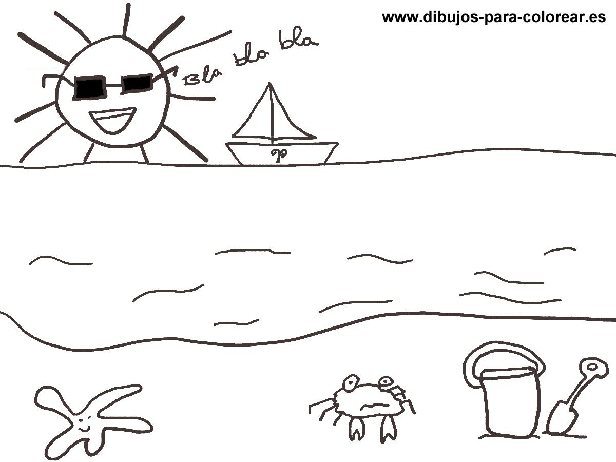 Dibujos para colorear - el verano sol  mar playa
