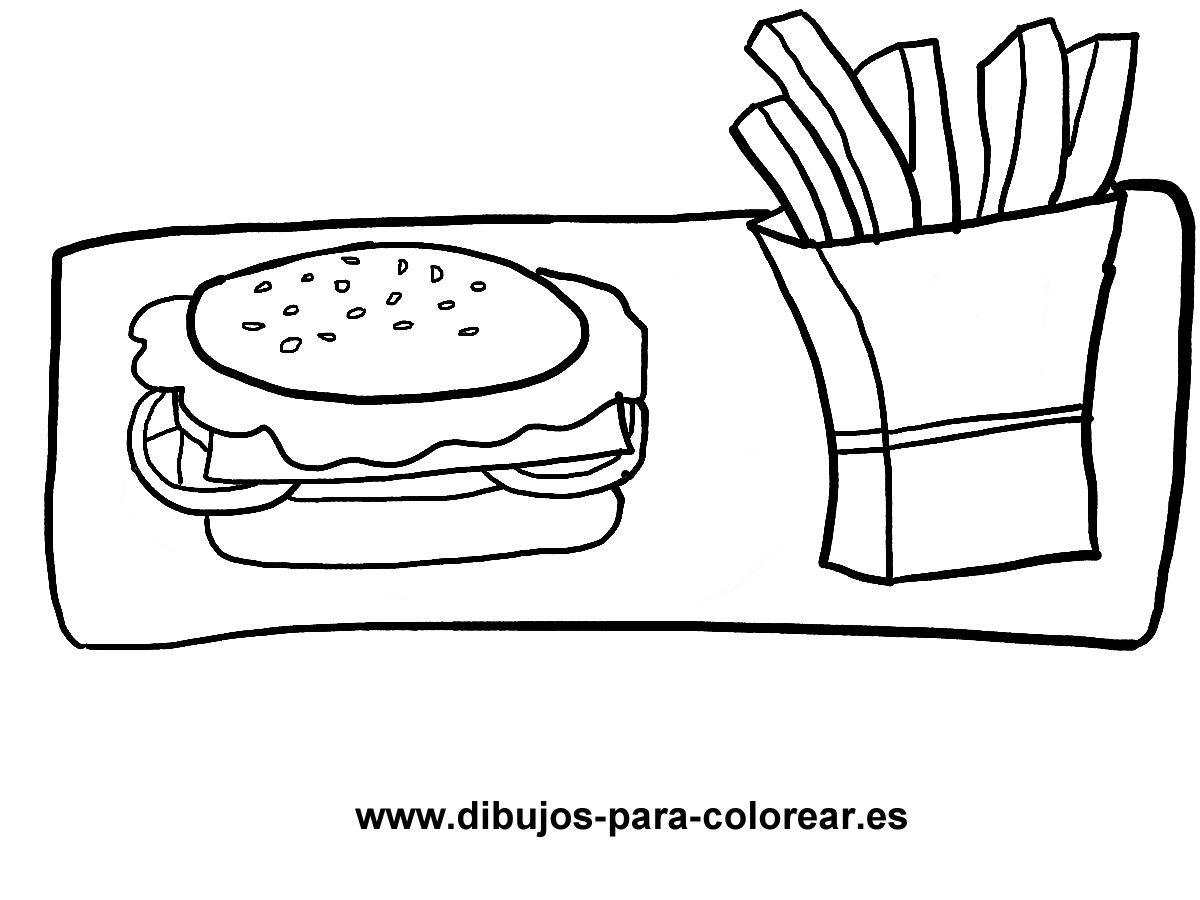 Dibujos para colorear - hamburguesa y patatas fritas