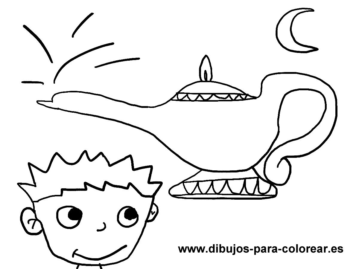 Dibujos para colorear - lampara magica niño