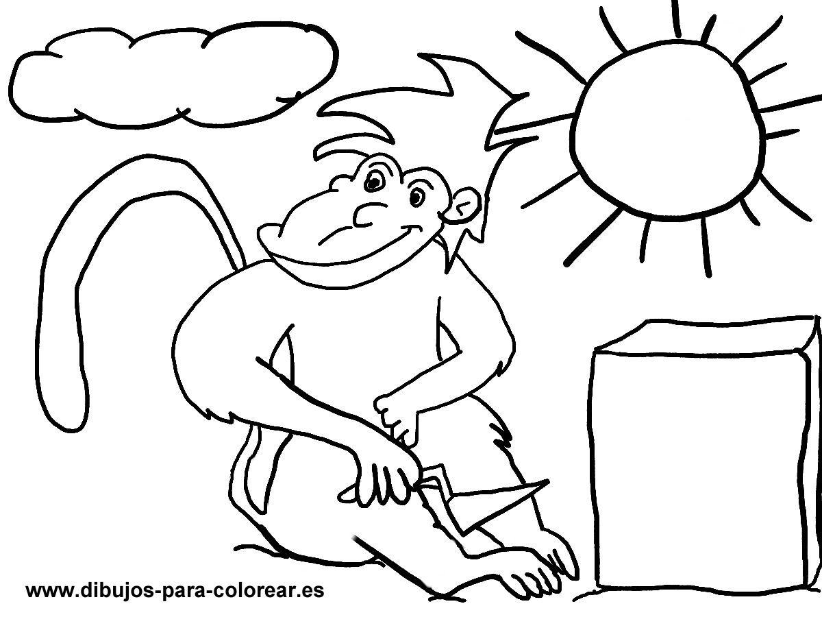 Dibujos para colorear - mono sol nube piedra