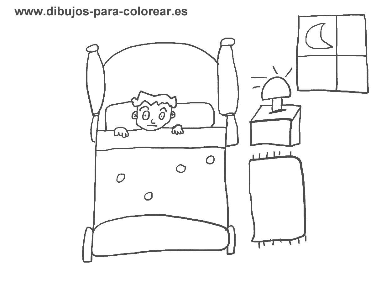 Dibujos para colorear - niño cama habitacion moche