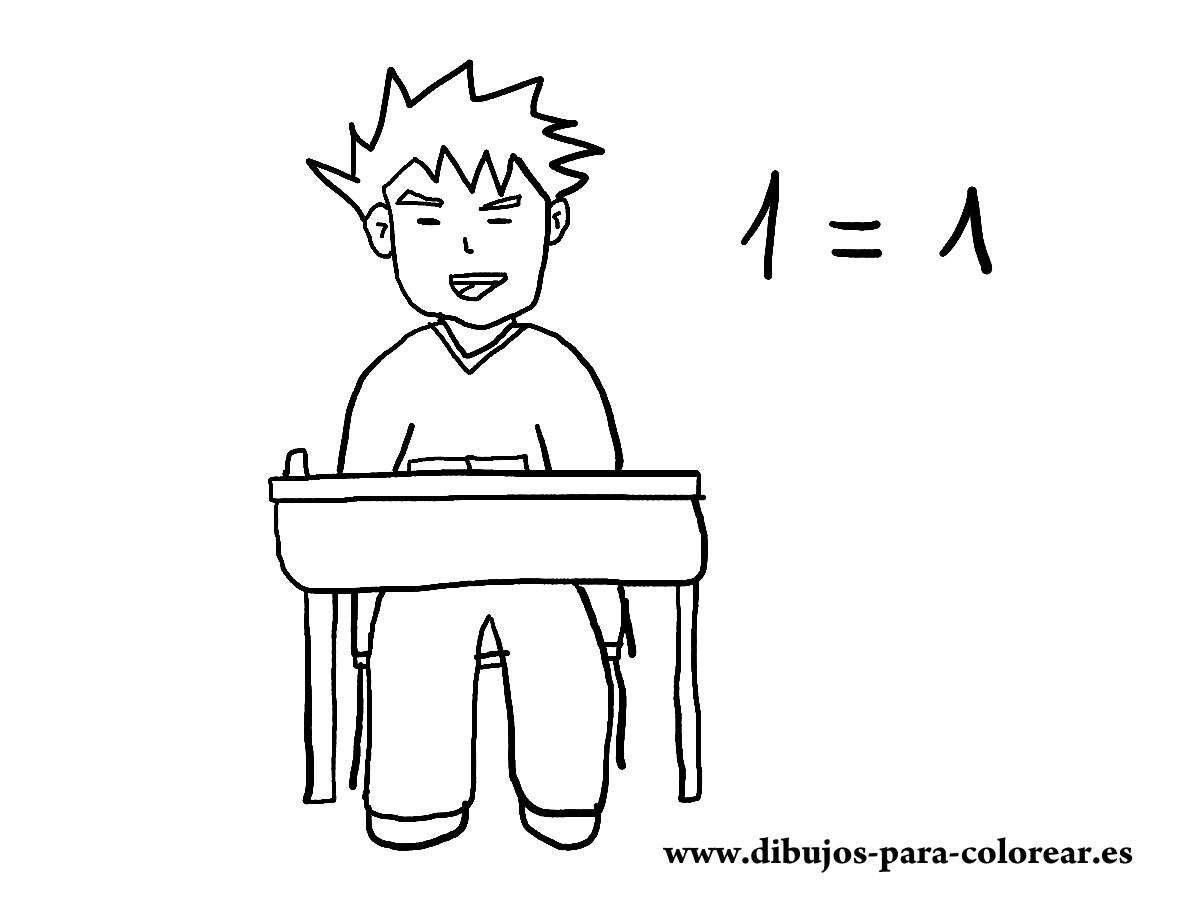 Dibujos para colorear - niño cole matematicas