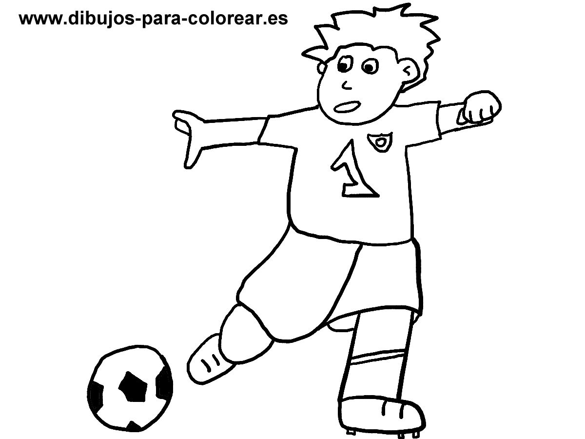Dibujos para colorear - niño jugando futbol balon