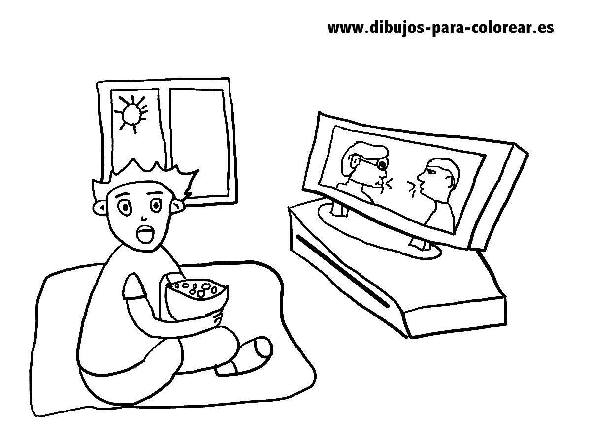 Dibujos para colorear - niño viendo la tele