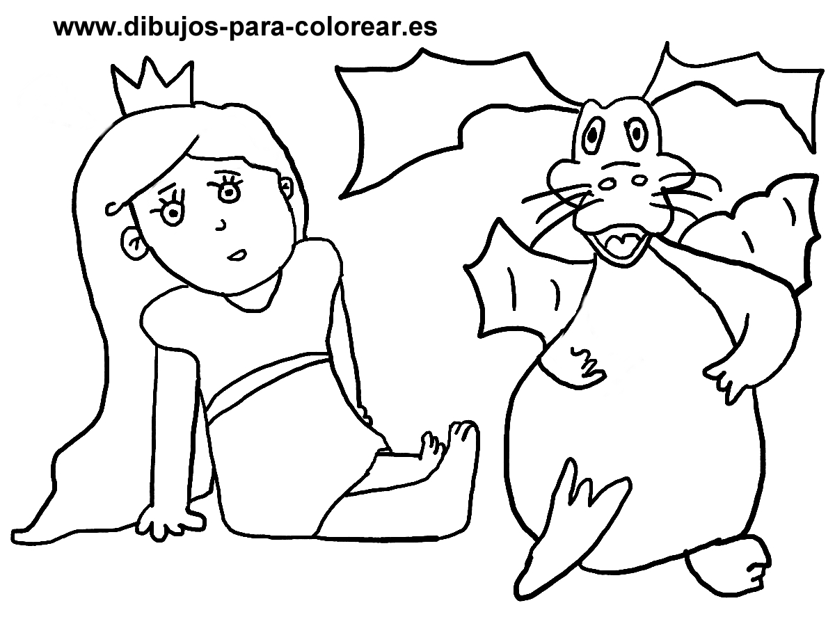 Dibujos para colorear - princesa dragon