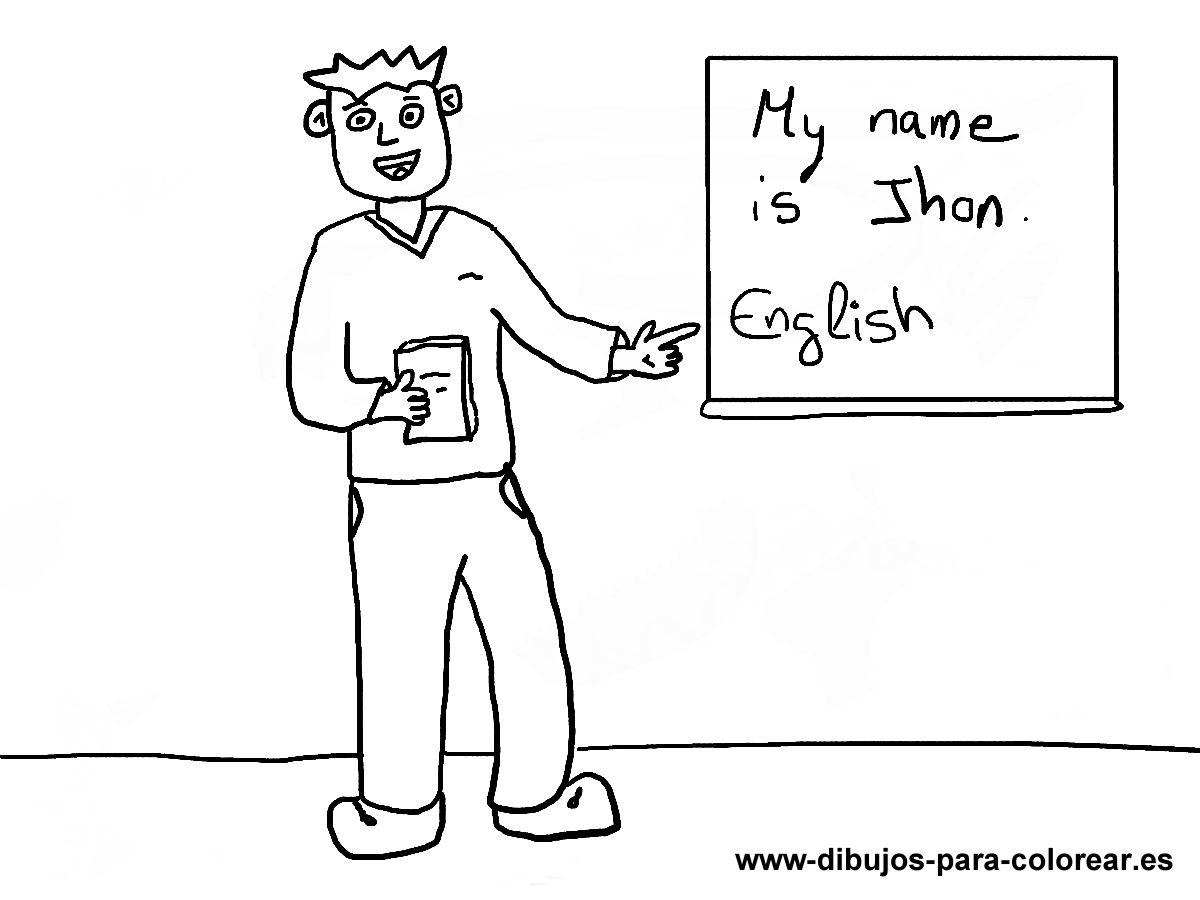 Dibujos para colorear - profesor de ingles colegio