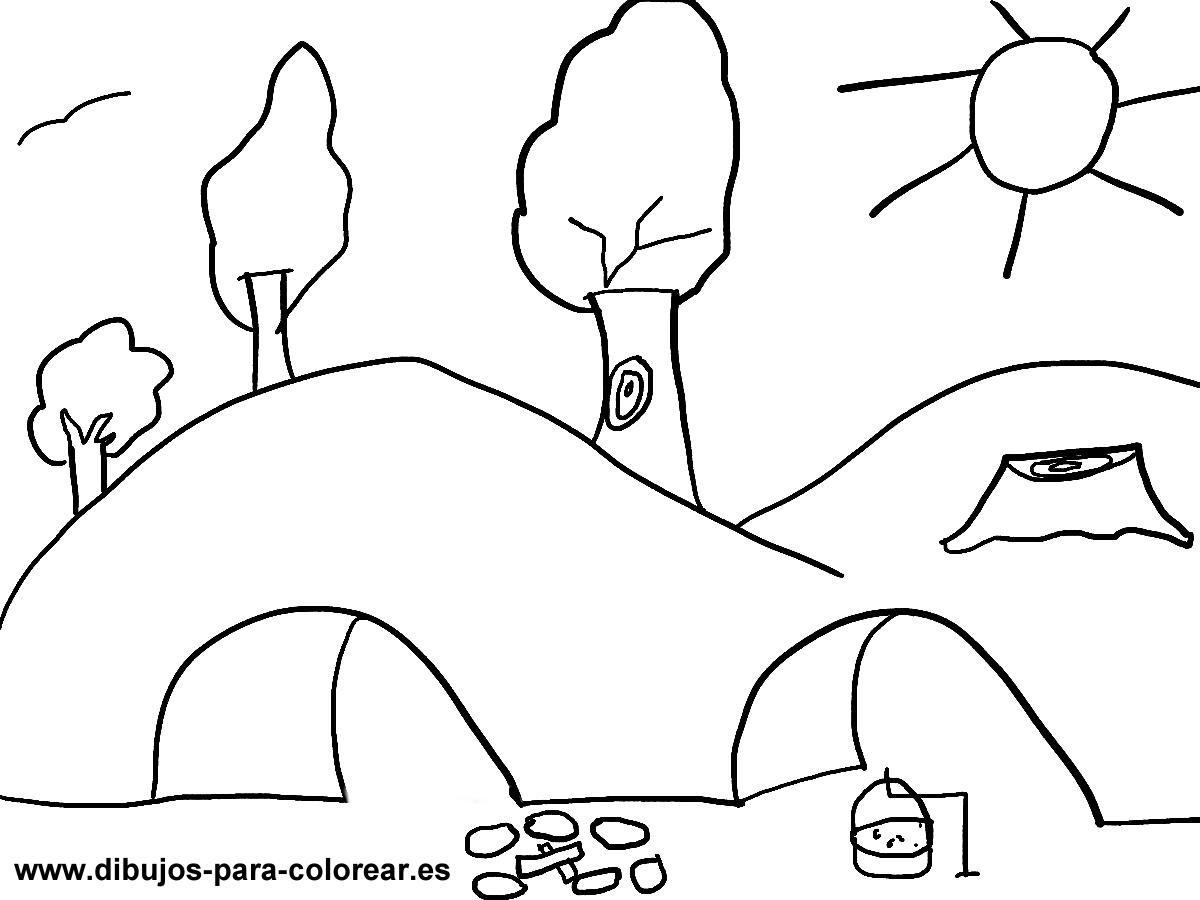 Dibujos para pintar - cuevas montañas arboles
