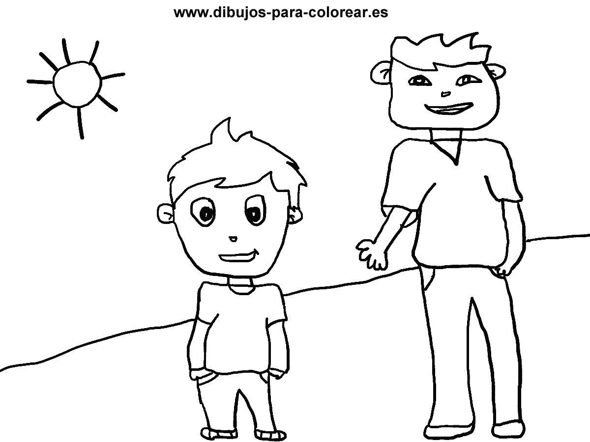Dibujos para colorear - El niño grande y el niño pequeño