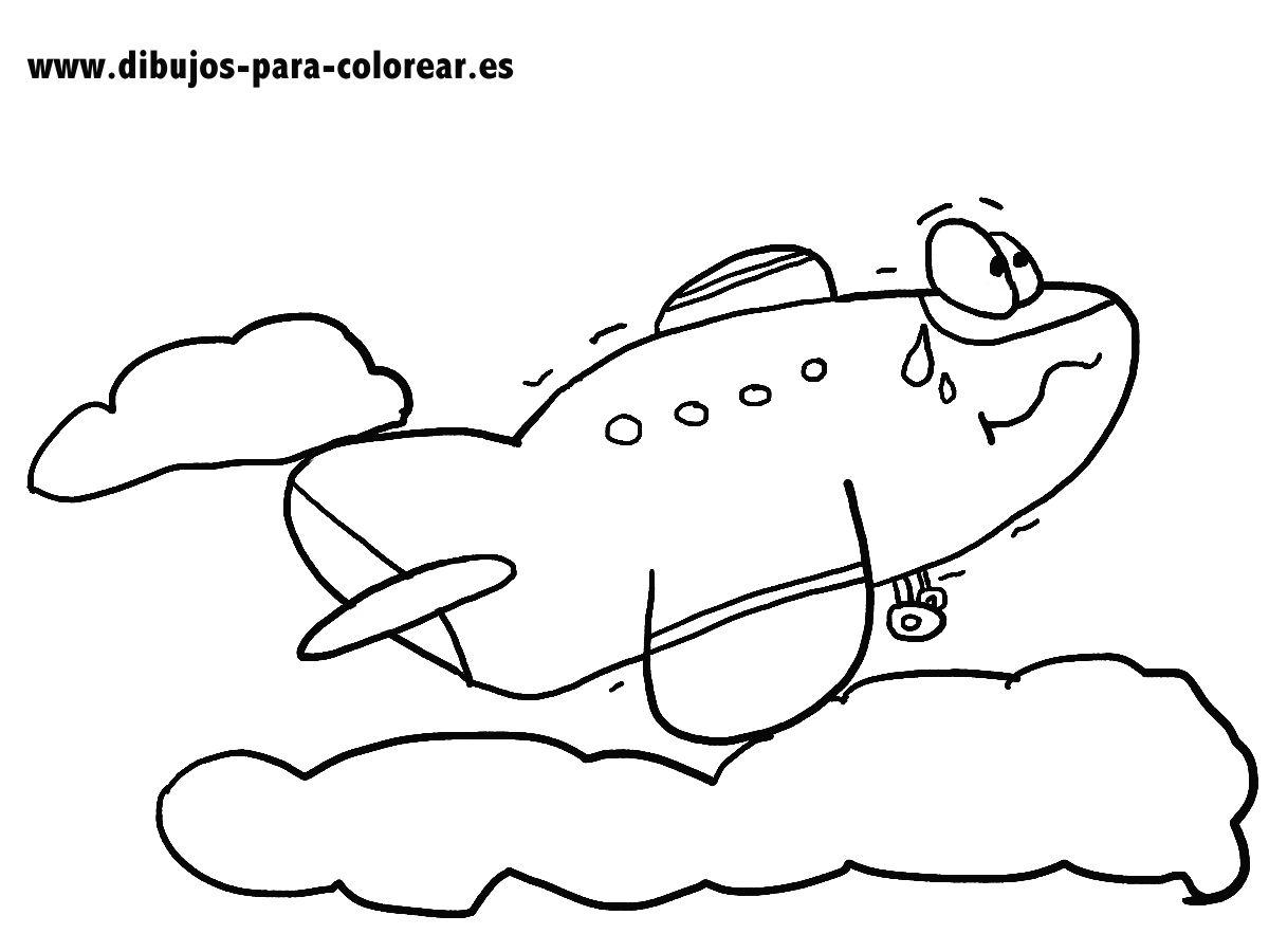 Dibujos para colorear - El avion y las nubes