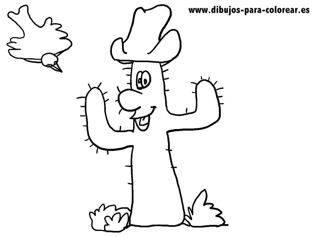 EL CACTUS Y EL PAJARO  Dibujos para colorear