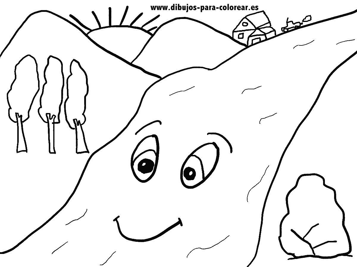 Dibujos para colorear - El río y las montañas