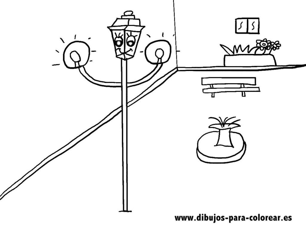 Dibujos para colorear - La farola de la plaza