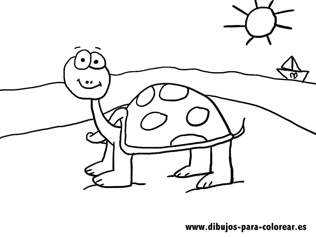 LA TORTUGA AMABLE DE LA PLAYA | Dibujos para colorear