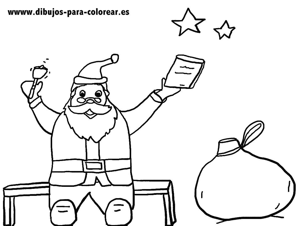 Dibujos para colorear - papa noel y el saco de juguetes