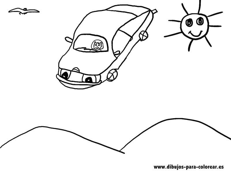 Dibujos para colorear - Coche volador
