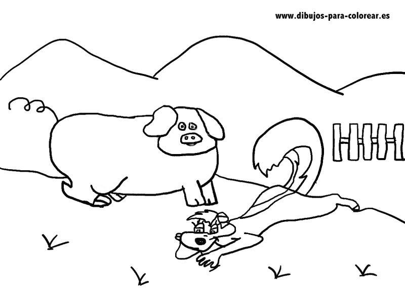 Dibujos para colorear - El cerdito y la mofeta en el campo