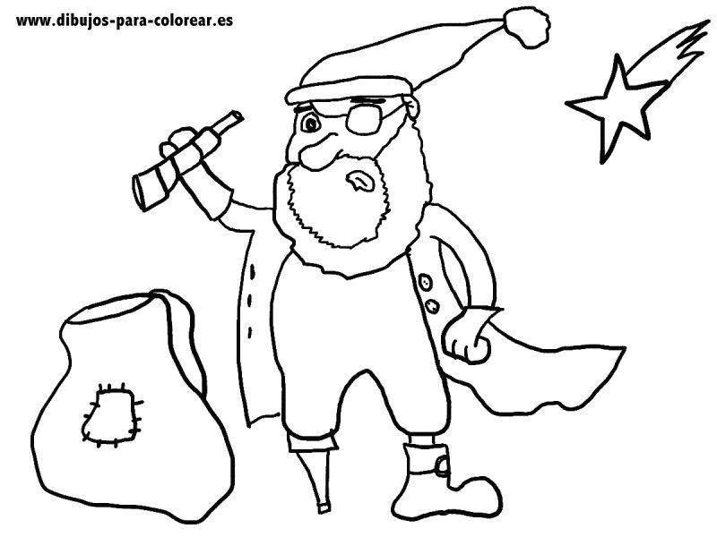 Dibujos para colorear - El pirata santa claus