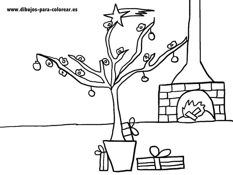 Dibujos para colorear - almendro de navidad