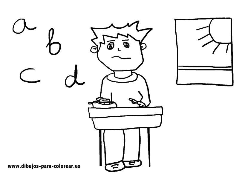 Dibujos para colorear - nino en clase de lengua