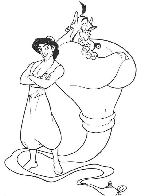 Dibujos para colorear - Aladino y el genio de la lampara