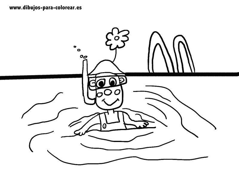 Dibujos para colorear -  Payaso en piscina