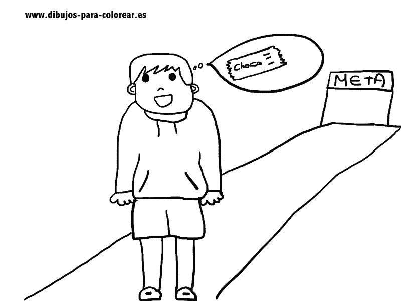 Dibujos para colorear - niño deportista y chocolatina