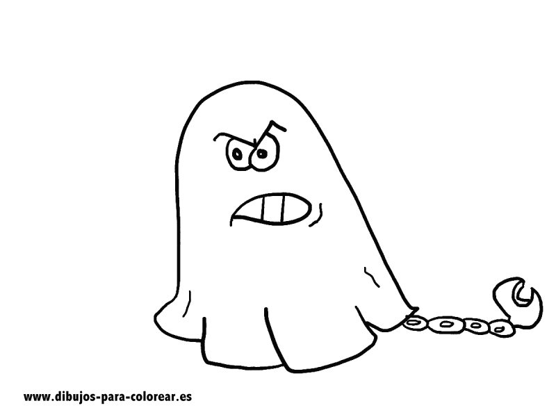Dibujos para colorear - fantasma con cadena